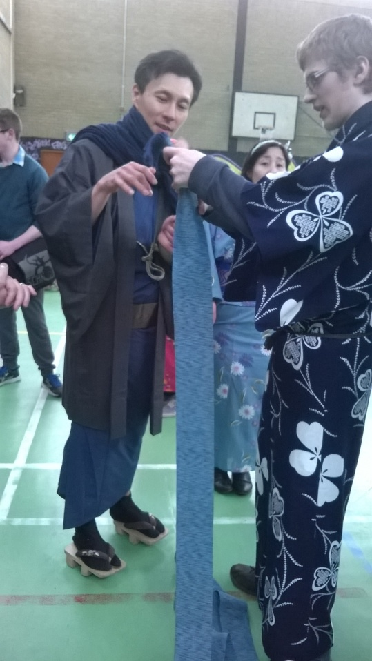 Lessons for local boys in wearing Yukata