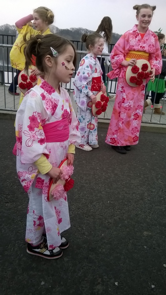 Lovely hanagasa dancers getting ready for the Spring Carnival Parade in Derry 2015